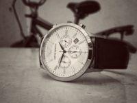 black strap silver round chronograph watch